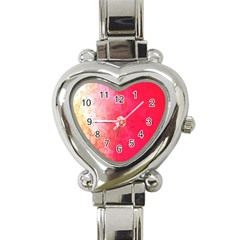 Abstract Red And Gold Ink Blot Gradient Heart Italian Charm Watch
