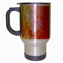 Abstract Red And Gold Ink Blot Gradient Travel Mug (silver Gray)