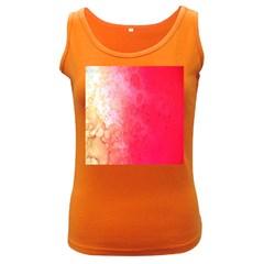 Abstract Red And Gold Ink Blot Gradient Women s Dark Tank Top