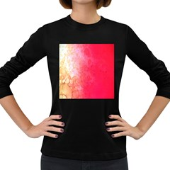 Abstract Red And Gold Ink Blot Gradient Women s Long Sleeve Dark T-Shirts