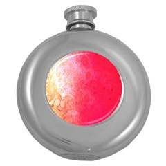 Abstract Red And Gold Ink Blot Gradient Round Hip Flask (5 Oz)