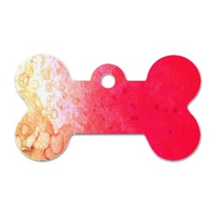 Abstract Red And Gold Ink Blot Gradient Dog Tag Bone (One Side)