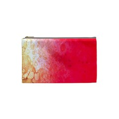 Abstract Red And Gold Ink Blot Gradient Cosmetic Bag (small)