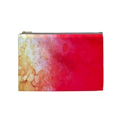 Abstract Red And Gold Ink Blot Gradient Cosmetic Bag (medium)