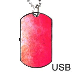 Abstract Red And Gold Ink Blot Gradient Dog Tag Usb Flash (one Side)