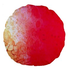 Abstract Red And Gold Ink Blot Gradient Large 18  Premium Round Cushions
