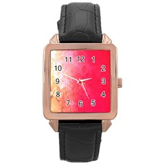Abstract Red And Gold Ink Blot Gradient Rose Gold Leather Watch