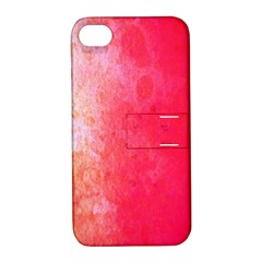 Abstract Red And Gold Ink Blot Gradient Apple Iphone 4/4s Hardshell Case With Stand