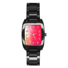 Abstract Red And Gold Ink Blot Gradient Stainless Steel Barrel Watch