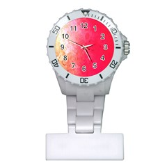 Abstract Red And Gold Ink Blot Gradient Plastic Nurses Watch