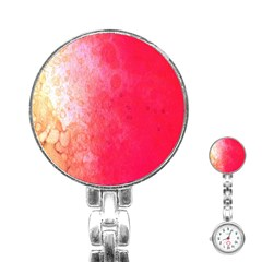 Abstract Red And Gold Ink Blot Gradient Stainless Steel Nurses Watch