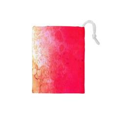 Abstract Red And Gold Ink Blot Gradient Drawstring Pouches (Small)