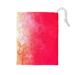 Abstract Red And Gold Ink Blot Gradient Drawstring Pouches (large)