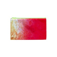 Abstract Red And Gold Ink Blot Gradient Cosmetic Bag (XS)