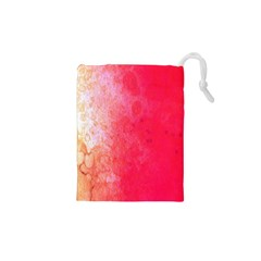 Abstract Red And Gold Ink Blot Gradient Drawstring Pouches (XS)