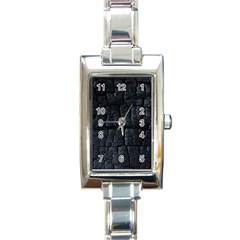 Black Burnt Wood Texture Rectangle Italian Charm Watch