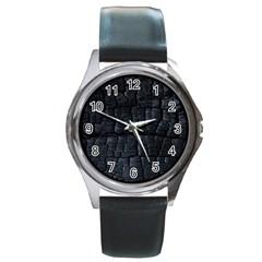 Black Burnt Wood Texture Round Metal Watch