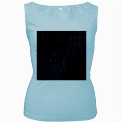 Black Burnt Wood Texture Women s Baby Blue Tank Top