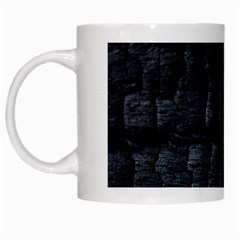 Black Burnt Wood Texture White Mugs