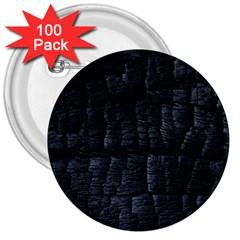 Black Burnt Wood Texture 3  Buttons (100 Pack)