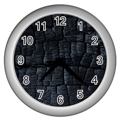 Black Burnt Wood Texture Wall Clocks (silver)