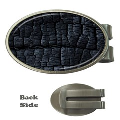 Black Burnt Wood Texture Money Clips (oval)