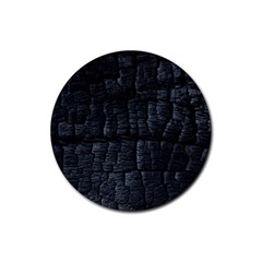 Black Burnt Wood Texture Rubber Round Coaster (4 pack)