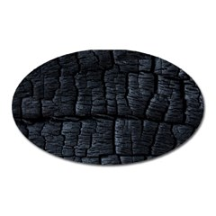 Black Burnt Wood Texture Oval Magnet