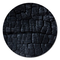 Black Burnt Wood Texture Magnet 5  (round)