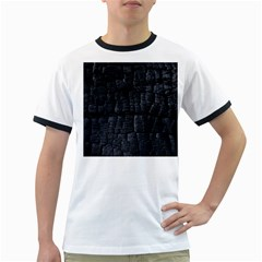 Black Burnt Wood Texture Ringer T Shirts