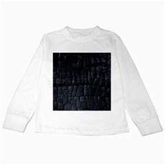 Black Burnt Wood Texture Kids Long Sleeve T Shirts