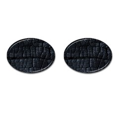 Black Burnt Wood Texture Cufflinks (oval)