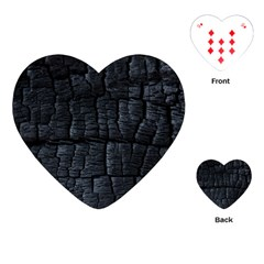 Black Burnt Wood Texture Playing Cards (heart)