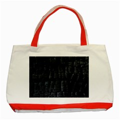 Black Burnt Wood Texture Classic Tote Bag (red)