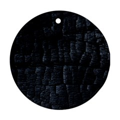 Black Burnt Wood Texture Round Ornament (two Sides)