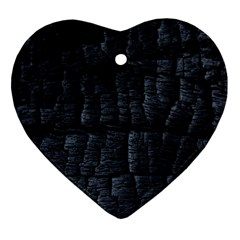 Black Burnt Wood Texture Heart Ornament (two Sides)