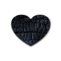 Black Burnt Wood Texture Heart Coaster (4 Pack)