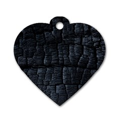 Black Burnt Wood Texture Dog Tag Heart (two Sides)