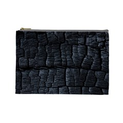 Black Burnt Wood Texture Cosmetic Bag (Large)