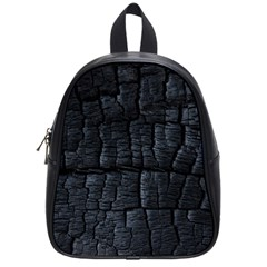 Black Burnt Wood Texture School Bags (small)