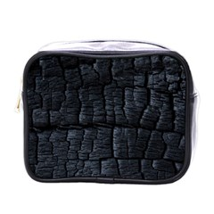 Black Burnt Wood Texture Mini Toiletries Bags