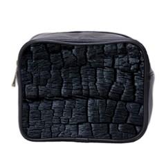 Black Burnt Wood Texture Mini Toiletries Bag 2 Side