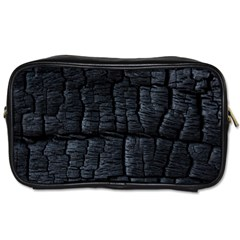 Black Burnt Wood Texture Toiletries Bags 2-Side