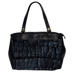 Black Burnt Wood Texture Office Handbags (2 Sides)