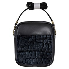 Black Burnt Wood Texture Girls Sling Bags