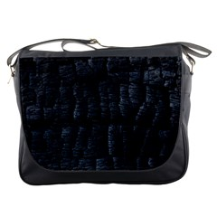 Black Burnt Wood Texture Messenger Bags