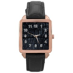 Black Burnt Wood Texture Rose Gold Leather Watch
