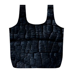 Black Burnt Wood Texture Full Print Recycle Bags (L)