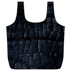 Black Burnt Wood Texture Full Print Recycle Bags (l)