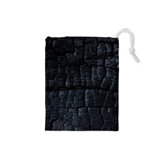 Black Burnt Wood Texture Drawstring Pouches (small)